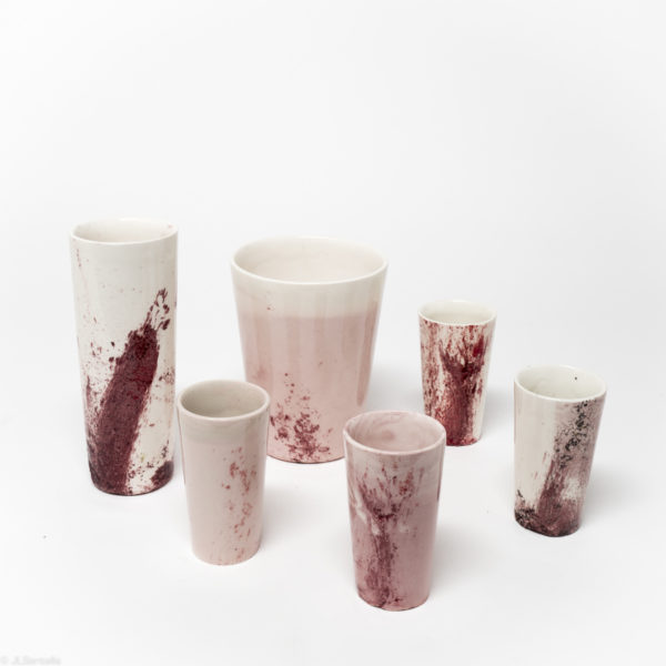 Playing with Splashes of Red on Pink all cups